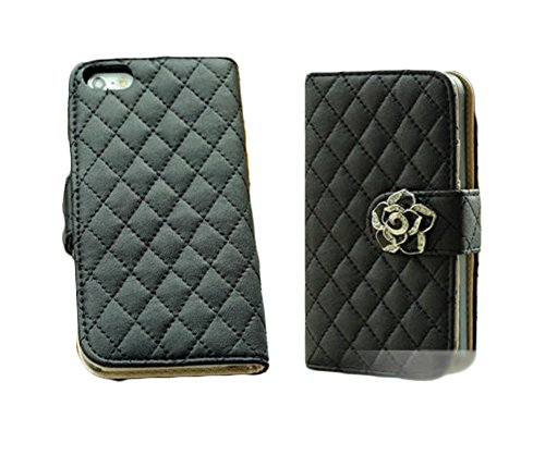 Mylife (Tm) Black Flower Design - Textured Koskin Faux Leather (Lanyard Strap + Card And Id Holder + Magnetic Detachable Closing) Slim Wallet For Iphone 4/4S (4G) 4Th Generation Touch Phone (External Rugged Synthetic Leather With Magnetic Clip + Internal