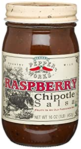 Texas Pepper Works Raspberry Chipotle Salsa, Fruity in an Old-Fashioned Way, Mild, 16-Ounce Jars (Pack of 3)