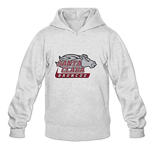 Mens Santa Clara Broncos Hoodies Hooded Sweatshirt LightGrey XL (Free Books Wis compare prices)