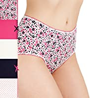 5 Pack Cotton Rich Assorted Midi Knickers