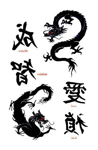 Asian Dragon Temporary Fake Tattoos