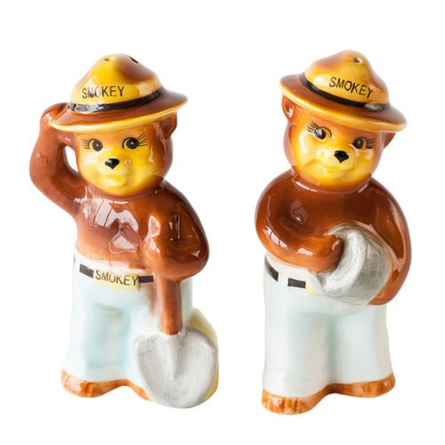 Smokey Bear Replica Vintage-Style Salt and Pepper Shakers Set
