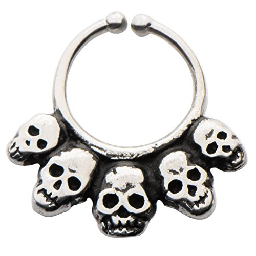 Casted White Italian Brass Faux Septum Nose Ring Clicker --FREE Gift Box w 138 (Italian Horn Bone compare prices)