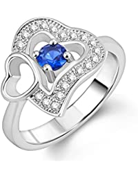 Om Jewells Sterling Silver Blue Duo Hear Ring With CZ Stones For Women FR7000527