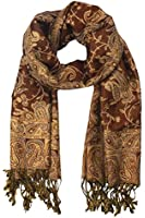 Peach Couture Elegant Reversible Paisley Pashmina Shawl Wrap