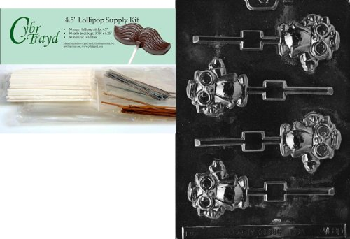 Cybrtrayd Graduation Owl Lolly Miscellaneous Chocolate Candy Mold with Lollipop Supply Bundle of 50 Lollipop Sticks, 50 Cello Bags, 25 Gold and 25 Silver Twist Ties and Instructions