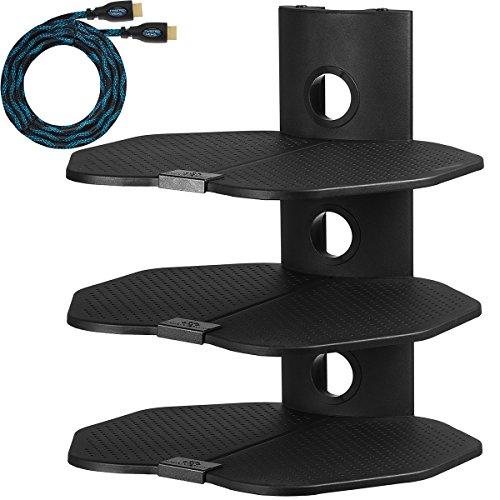 """Cheetah Mounts AS3B Tripla Mensola di Supporto da Parete, con Tre Ripiani da cm 45,7 x cm 40,6; Scaffale da Muro Adatto a tutte le TV LCD, LED, Plasma e Schermo Piatto per Organizzazione dei Cablaggi di Ricevitori Cavo Satellite, Lettori DVD, Video-Giochi, Sintonizzatori e Altri Sistemi Elettronici; Comprende Cavo HDMI """"Twisted Veins"""" da m 4,5."""