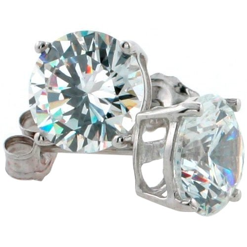 14K White Gold 7 mm CZ Stud Earrings Brilliant Cut Basket Set 2 1/2 Carat Size