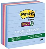 Post-it Recycled Super Sticky Notes, 4 in x 4 in, Bali Collection, Lined, 6 Pads/Pack (675-6SSNRP)