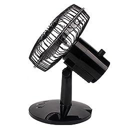 Akaigu Oscillating Fan 2-Speed 6-Inch USB Desk Fan with UP/DOWN Switch, Black