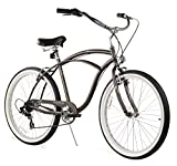 Firmstrong Urban Man Seven Speed Beach Cruiser Bicycle, Matte Grey, 19 inch / Large