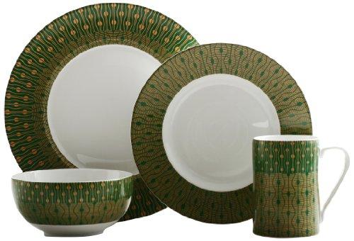 222 Fifth 3001Gr801A1 Theorie 16-Piece Dinner Set, Green