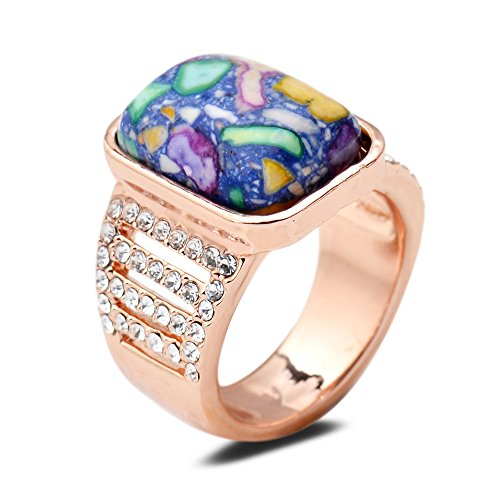 Yazilind Rectangle Round Cut Multi-Color Turquoise Clear Cubic Zirconia Rose Gold Plated 8 Ring Women