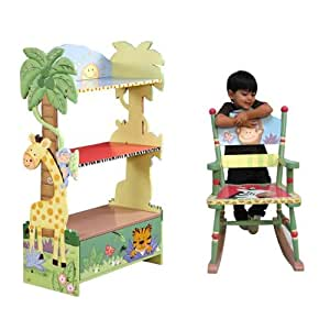 Teamson Kids Sunny Safari Bookcase and Rocking Chair