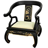 This classic Ming style decorative chair was handmade at an artisans' collective in Guangdong and finished with an extraordinary 12 coat of rich lacquer.  Sophisticated and versatile, this outstanding chair will bring an element of elegance a...