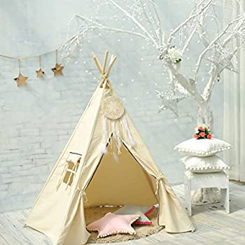 HAN-MM Large Teepee Children Playhouse with a Dream Catcher and Carrying Case (Colors May Vary)