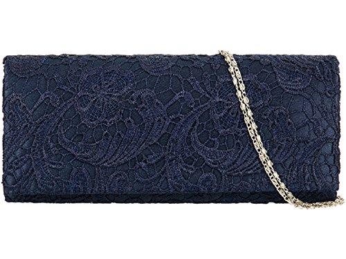Accessorize-me Lace Overlay Evening Clutch Bag Handbag Wedding Races Prom 12 Colour's 09222 (Navy Blue)