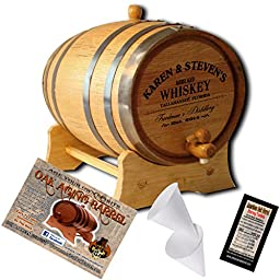 Personalized American Oak Aging Barrel - Design 063: Barrel Aged Whiskey (1 Liter)
