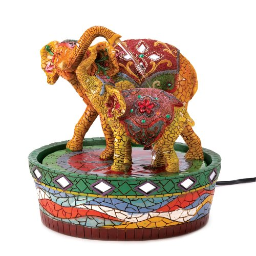Joyful Mother Child Elephant Tabletop Water Fountain