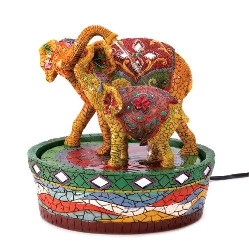 Joyful Mother Child Elephant Tabletop Water Fountain