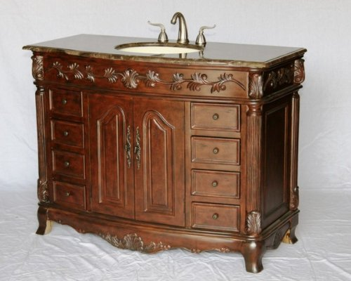 """48"""" Inch Wood Single Sink Bathroom Vanity With Marble Top And Sink With 5 Year Replacement Warranty"""