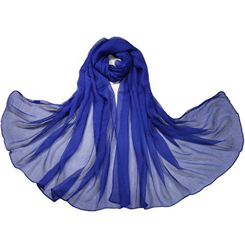 Solid Color 100%silk Yoryu Chiffon Slightly-crumpled Scarf (Royal)