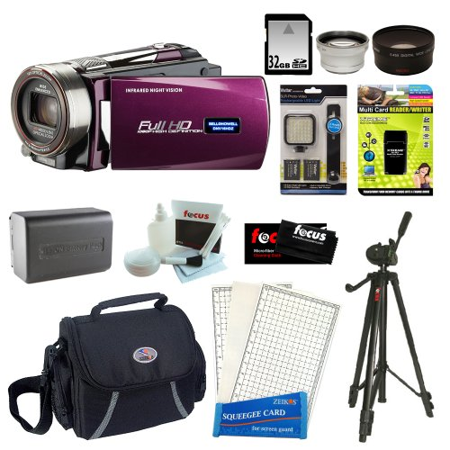 Bell & Howell DNV16HDZ Full 1080p HD 16MP Infrared Night Vision Camcorder in Maroon + Replacement Lithium-Ion Battery for DNV16HDZ+ 59″ Tripod + Bag + 32GB Card + 37MM WideAngle Lens + SLR-Photo-Video LED Light + 37mm Teleconverter Lens and Accessories