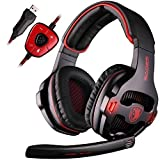 SADES SA903 7.1 Surround Sound USB PC Stereo Gaming Headset with Microphone Volume-Control LED Light (Black) (Color: SA903 Red)