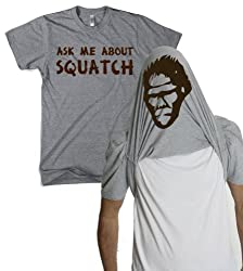 Ask Me About My Bigfoot T Shirt Funny Sasquatch Flipup Tee by Crazy Dog Tshirts