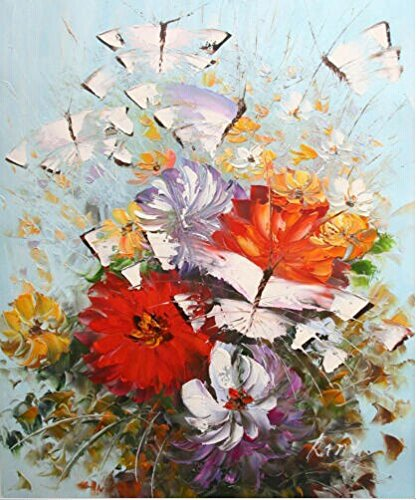 """Original Oil Painting On Canvas 20X24"""" Knife Butterful Abstract Wall Art E105"""