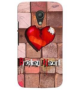 PrintVisa Romantic Love Broken Heart 3D Hard Polycarbonate Designer Back Case Cover for Motorola Moto G2