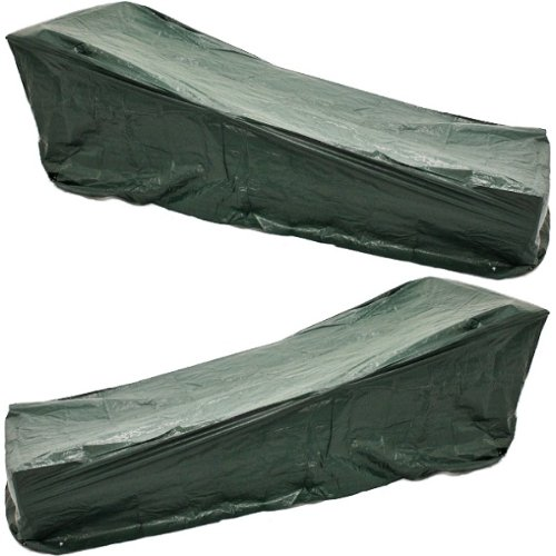 PAIR OF WOODSIDE SUNBED COVERS WATERPROOF GARDEN FURNITURE PATIO
