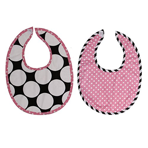 Bacati 2 Piece Dots/Pin Stripes with Pink Pin Dots Bibs Set, Black/White - 1