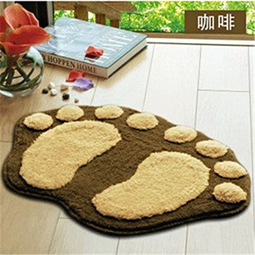 L-Zone Super Soft Nonslip Microfiber Lovely Flocking Big Feet Pad Floor Mat Bedroom Area Rug Carpet 58.5*38.5Cm, 5 Colors Available (Coffee) front-587972