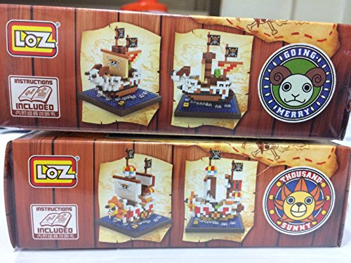 One Piece Thousand Sunny Ship Going Merry Building Blocks Manga Figure Nanoblock Party Supplies Anime Gift with Original Box