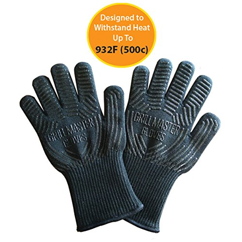 Extreme Heat Resistant Oven Gloves - 932f EN407 Certified Cooking Gloves for BBQ, Grilling by Grill Master Gloves (Clean Bbq Gloves Free Grilling compare prices)