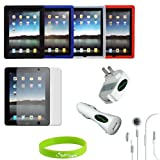 """CrazyOnDigital Skin Case Covers with Charger and Screen Protector for """"The New iPad"""" 3rd Gen 2012 Model & Apple iPad 2 / iPad 3 3rd Generation / iPad HD AT&T Verizon 4G LTE (9-item) ~ CrazyOnDigital"""