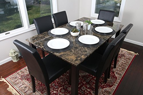 7 pc Faux Marble Dining Room Set with Six Chairs and Table 60