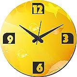 MeSleep Yellow Abstract Wall Clock With Glass Top