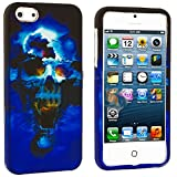 myLife Blue Scary Skull Series (2 Piece Snap On) Hardshell Plates Case for the iPhone 5/5S (5G) 5th Generation... by myLife Brand Products
