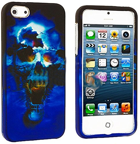 Mylife Blue Scary Skull Series (2 Piece Snap On) Hardshell Plates Case For The Iphone 5/5S (5G) 5Th Generation Touch Phone (Clip Fitted Front And Back Solid Cover Case + Rubberized Tough Armor Skin)