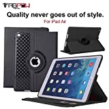 iPad Air Case, TabPow [360 Degree Rotating Case] Black Premium PU Leather TPU Flip Case Smart Cover Stand with Card Slots, Pocket, Elastic Hand Strap For Apple iPad Air / iPad 5