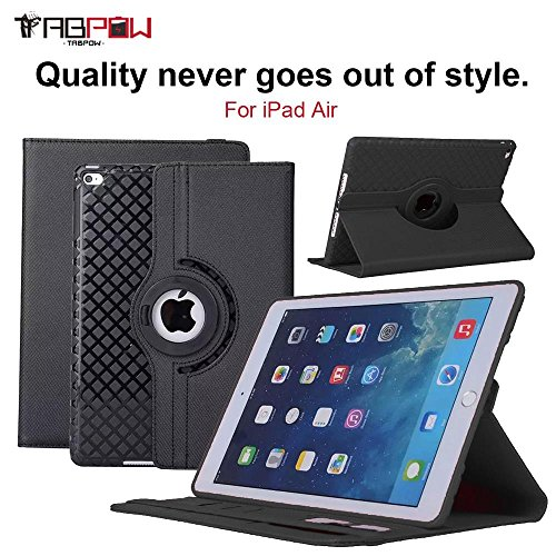 Discover Bargain iPad Air Case, TabPow [360 Degree Rotating Case] Black Premium PU Leather TPU Flip ...