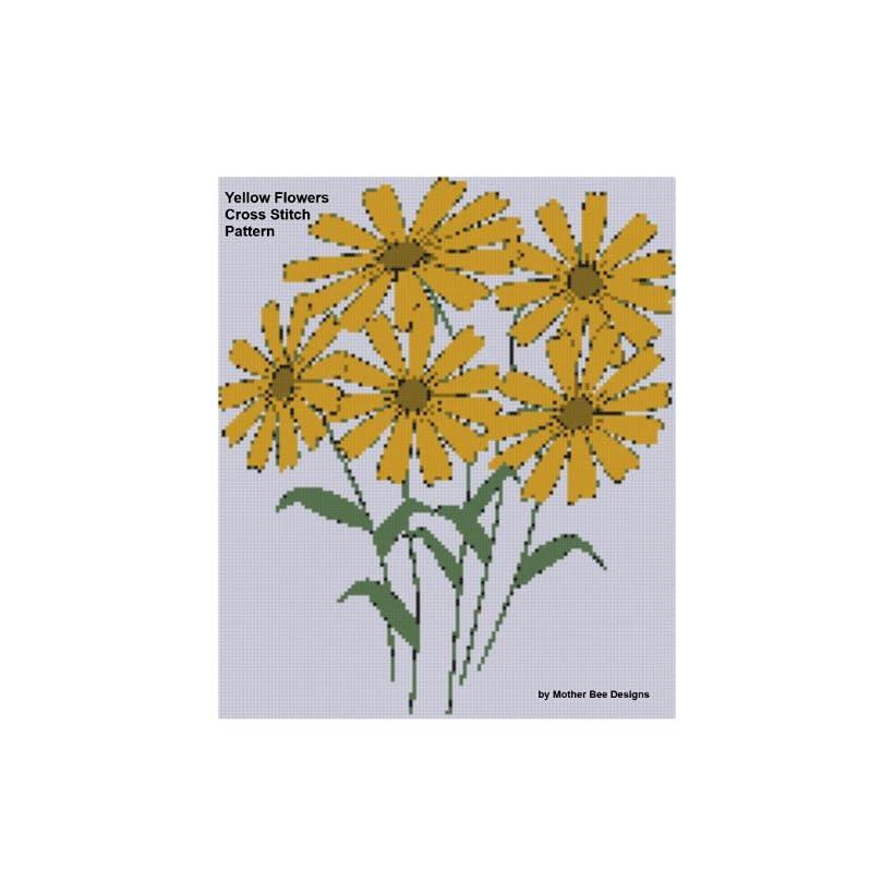 Yellow Flowers Cross Stitch Pattern