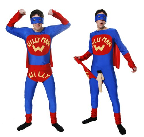 WILLY MAN FANCY DRESS COSTUME PARTY OUTFIT STAG HEN NIGHT SUPER HERO MENS OUTFIT