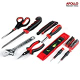 Apollo 42 Piece Household Tool Kit with Jab Saw, Long Nose Pliers, Adjustable Wrench, Snap-off Knife, 32 Screwdriver Bits, Precision Screwdrivers, Scissors & Level