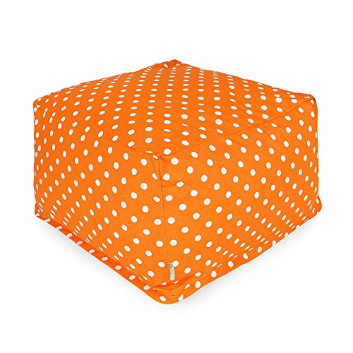Majestic Home Goods Tangerine Small Polka Dot Ottoman, Large front-171703