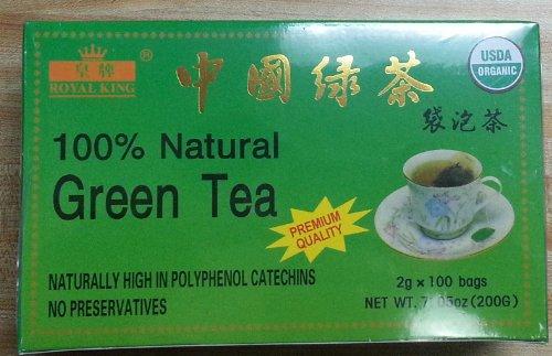Royal King 100% Natural Organic Green Tea (100 Tea Bags X 2G Each) - 3 Boxes