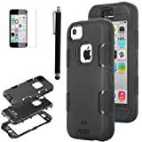 Pandamimi ULAK(TM) Full Protection Hybrid 3 Layer Soft Silicone Armor Hard Inner Case Cover for iPhone 5C with Screen Protector and Stylus (Black-3in1)