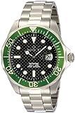 Invicta Mens Pro Diver Black Carbon Fiber Dial Stainless Steel Bracelet Green Bezel Watch 12564